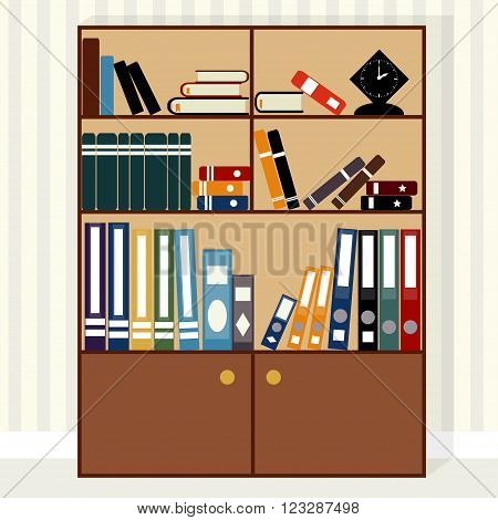 Large bookcase with books, textbooks and notebooks and folders, clock on the shelfs, vector.