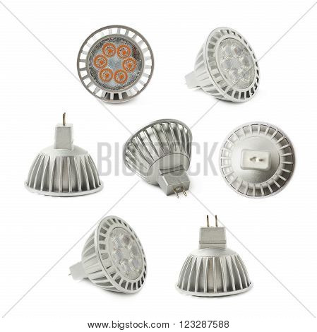 Energy saving plastic led bulb isoalted over the white background, set collection of seven different foreshortenings