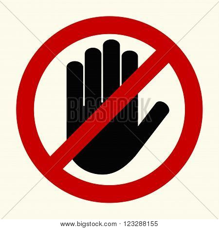 No entry, stop sign, black hand sign on white background. Hand sign for prohibited activities, vector
