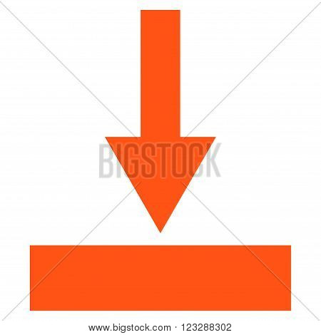 Move Bottom vector icon. Style is flat icon symbol, orange color, white background.