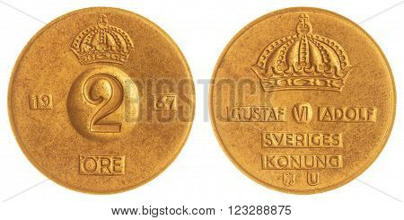 2 Ore 1967 Coin Isolated On White Background, Sweden