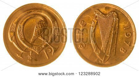 Half Penny 1978 Coin Isolated On White Background, Ireland
