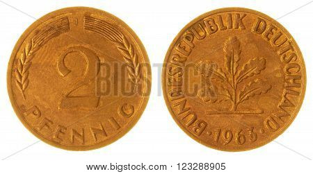 2 Pfennig 1963 Coin Isolated On White Background, West Germany