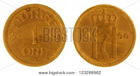 1 Ore 1956 Coin Isolated On White Background, Norway