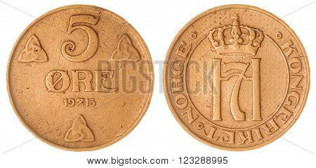5 Ore 1913 Coin Isolated On White Background, Norway