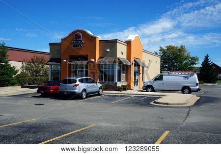 PLAINFIELD, ILLINOIS / UNITED STATES - SEPTEMBER 20, 2015: The Taco Bell restaurant offers tacos and other Mexican food in Plainfield.