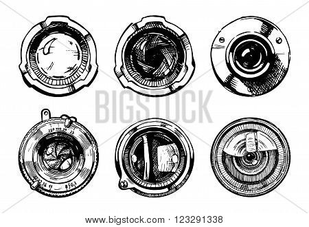 Vector hand drawn illustration of the camera lens set in ink hand drawn style.