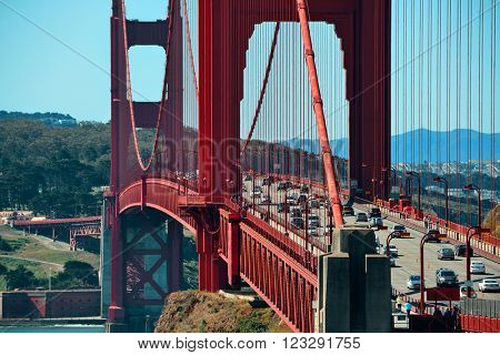 San Francisco, CA - MAY 11: Golden Gate Bridge closeup with traffic on May 11, 2014 in San Francisco. Opened in 1937, it is the most photographed bridge in the world