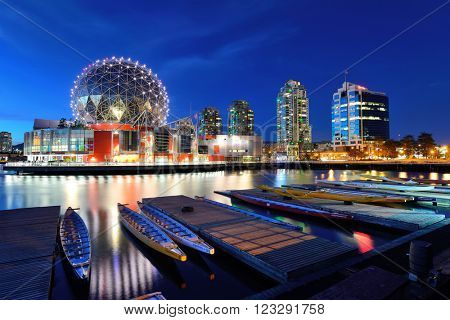 VANCOUVER, BC - AUG 17: Science World waterfront of False Creek on August 17, 2015 in Vancouver, Canada. With 603k population, it is one of the most ethnically diverse cities in Canada.