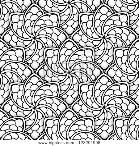Seamless black and white pattern. Ethnic henna hand drawn background for coloring book textile or wrapping.