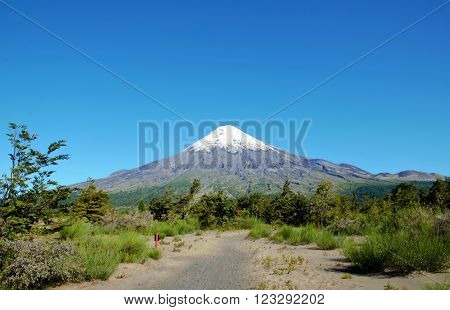 Scenic view of the vulcano Osorno during a trek in the Vincente Perez Rosales National Park in Petrohue