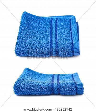 Single terry cloth towel isolated over the white background, set collection of two different foreshortenings