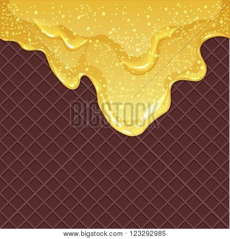 Seamless chocolate waffles background with flowing honey or maple syrup with air bubbles vector