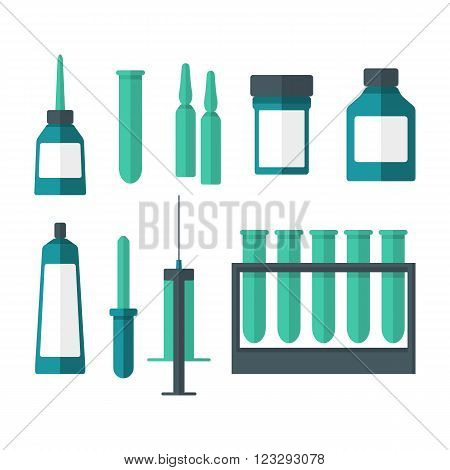 Medical set, pipette, flask, bottle, syringe, capsules, icon, vector