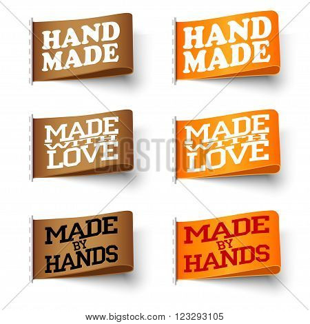 Set of realistic textile brown and orange labels hand made and made with love and made by hand with shadow on white background vector