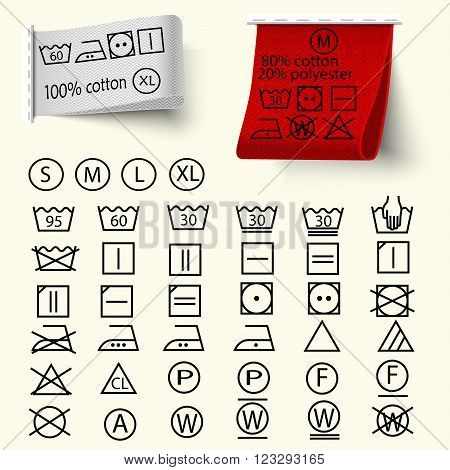 Set of textile care sign laundry care icons thin line design textile labels with 