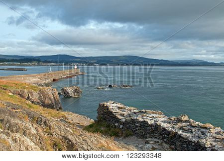 Wicklow Ireland North Harbor Jetty Seawall and Lighthouse