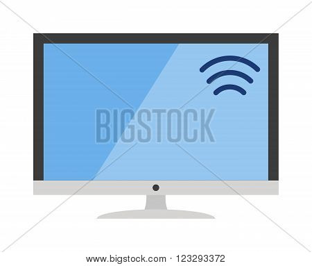 Lcd tv monitor display icon and tv computer antenna icon monitor vector. Electronics computer tv monitor. Tv icon technology media flat design style vector illustration. Tv icons and wifi sign