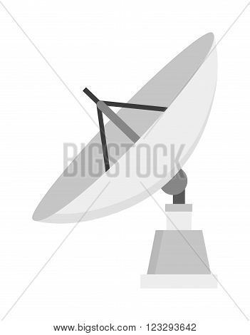 Satellite icon communication dish radio signal network and satellite data broadcast icon internet equipment vector. Satellite icon technology wireless space radio signal flat vector illustration.