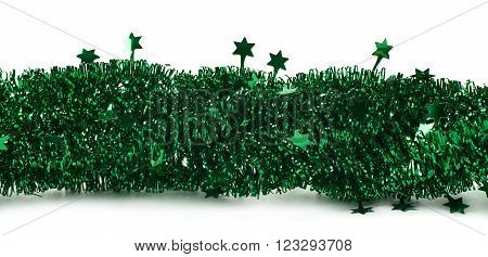 Line of a tinsel green decorational Christmas garland isolated over the white background