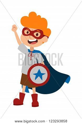 Super hero little boy in glasses, coat, with shield and cute super hero brave boy vector. Illustration of superhero boy cartoon character vector. Young school kid super hero costume, star shield and smile