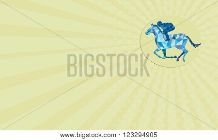 c showing Low Polygon style illustration of horse and jockey racing viewed from the side set inside oval shape on isolated background.