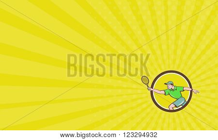Business card showing illustration of a tennis player holding racquet playing tennis doing a forehand shot viewed from the side set inside circle done in cartoon style.