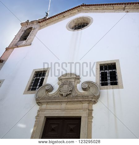 View of the facade of Church of Merci in Torres Vedras Portugal