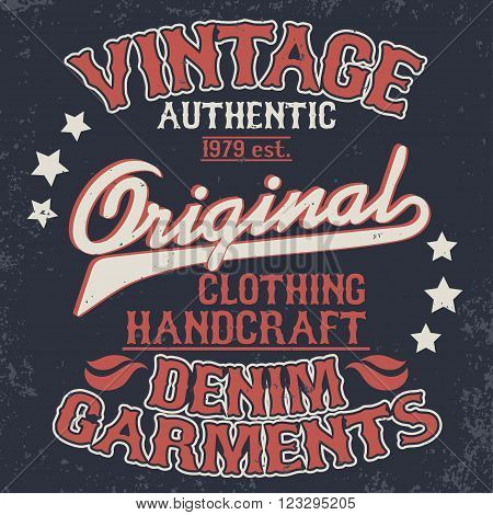 Denim typography, t-shirt stamp graphics, vintage wear tee print design