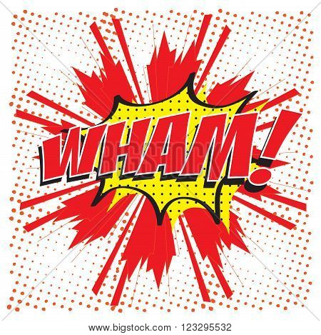 WHAM! wording sound effect set design for comic background, comic strip
