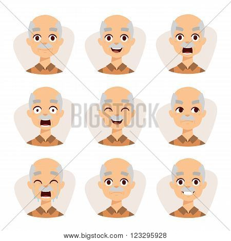 Grandpa emotions avatar and old grandpa feelings emotions vector. Set of an old man emotions simple flat design illustration of grandpa vector.
