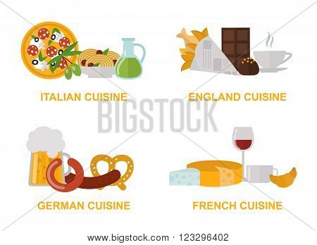 Cuisine lunch cooking and kitchen menu cuisine lunch vector. Cuisine lunch gourmet traditional food flat vector illustration set.