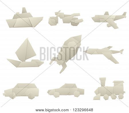 Origami logistic paper transport and origami concept transport vector illustration. Origami transport collection original flat vector illustration.