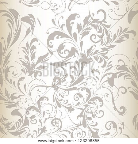 Tender vector seamless pattern or background with swirl flourishes white silver and grey colors ideal for wedding design or save the date