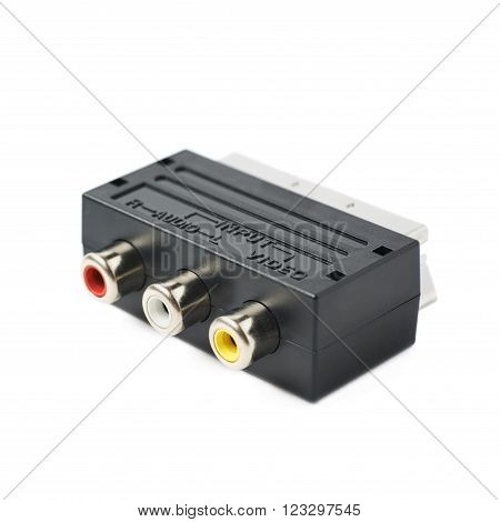 Male SCART AV black plastic adaptor isolated over the white background