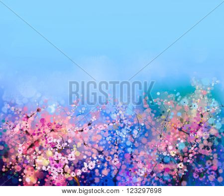 Watercolor painting Cherry blossoms - Japanese cherry - Sakura floral with blue sky. Pink flowers in soft color with blurred nature background. Spring flower seasonal nature background with bokeh