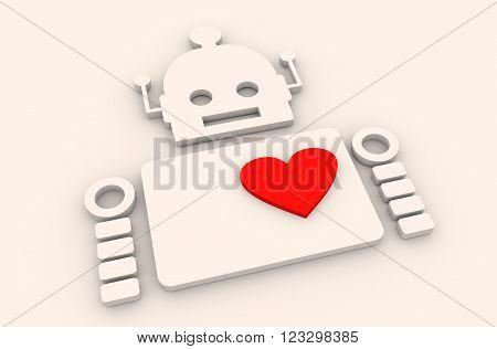 Cute vintage robot. Robotics industry relative image. Human heart icon. 3D rendering