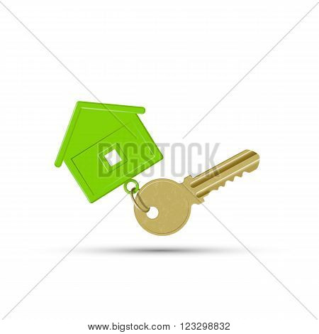 Key to the lock with keychain. Stock vector illustration.