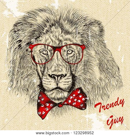 Fashion hipster background with hand drawn lion with red bow and glasses imitation of retro postcard