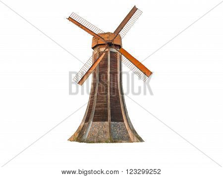Dutch Windmill Isolated; Working windmill white background ;