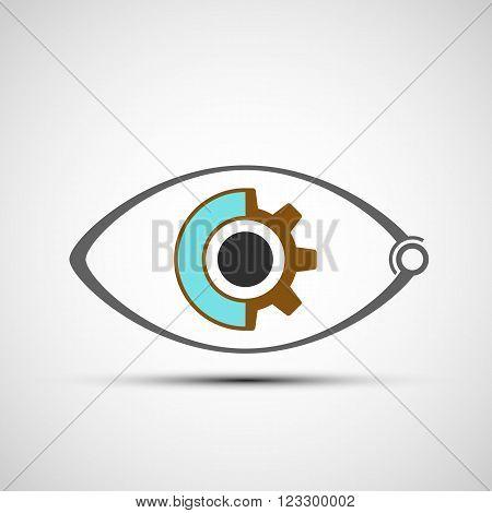 Icon human mechanical eye. Stock vector illustration.