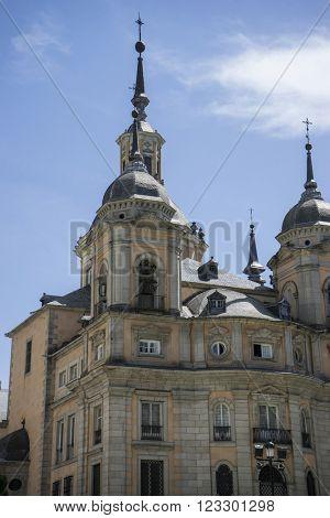 Palacio de la Granja de San Ildefonso in Madrid, Spain. beautiful villa with gardens and classical sources
