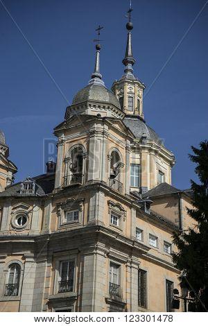 Belfry, Palacio de la Granja de San Ildefonso in Madrid, Spain. beautiful villa with gardens and classical sources