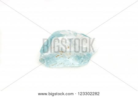 light blue beryl jewel cut crystal on a white background