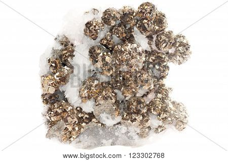 pyrite or fool's gold mineral sample in quartz
