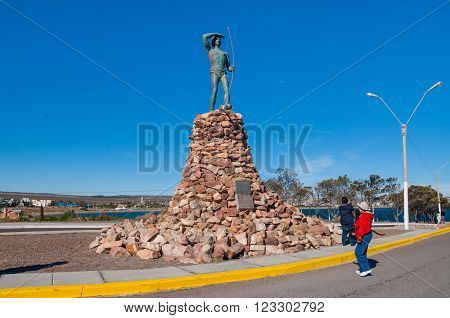 Puerto Madryn, Argentina - December 13, 2012: The monument to the Tehuelche Native. The Mapuche are a group of indigenous inhabitants of south-central Chile and southwestern Argentina, including parts of present-day Patagonia.