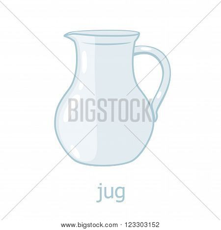 Glass jar. Kitchenware cartoon illustration. Empty jug. Kitchen utensil. Glass jar