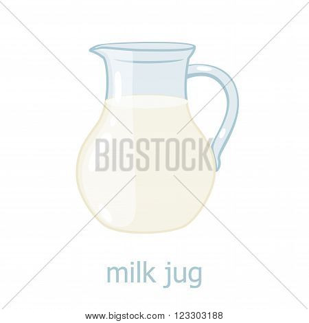 Milk jar cartoon illustration. Kitchen utensil. Glass jar with milk. Dairy production. Food ingrediensts