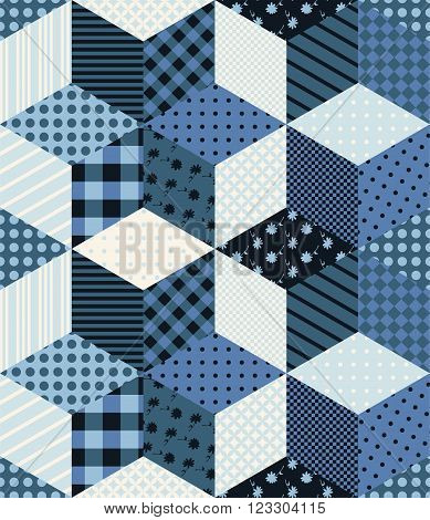Winter seamless patchwork pattern with stars from patches. New year background. Vector illustration of quilt in blue tones.