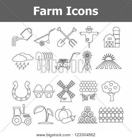 Outline vector farm icons. Vector illustration EPS10.